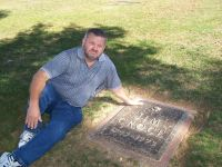 Gary at the grave site of Jim Groce