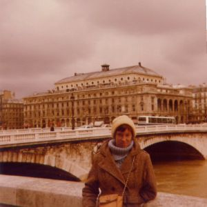 Rayls outside the Notre Dame, Paris, 1980