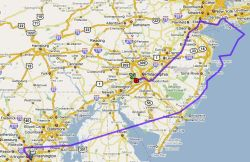 My flight path Washington DC to NYC and then driving to Philadelphia