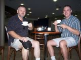 Gary and Glen enjoy a cuppa at the airport on the morning of departure