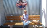 Mock Forrest Gump bench at the Bubba Gump Shrimp Co.